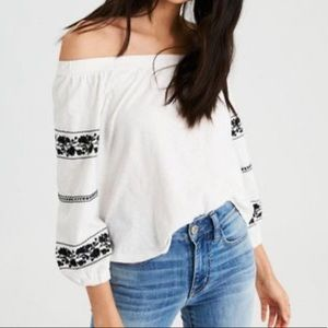 AE white off the shoulder top